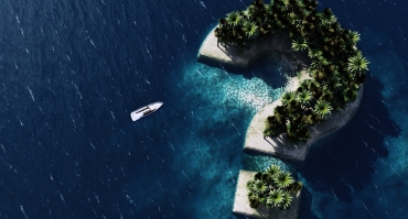 Where are we goning this holiday? 3d rendering of Question sign Shaped Island. 3D illustration